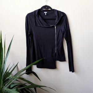 Splendid Black Asymmetrical Zip Front Jacket sz M